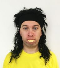 Ronaldinho Brazil Football Fancy Dress Wig, Sweatband and Teeth